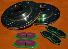 Komplettset 4 x Bremsscheiben und Bremsbeläge Greenstuff